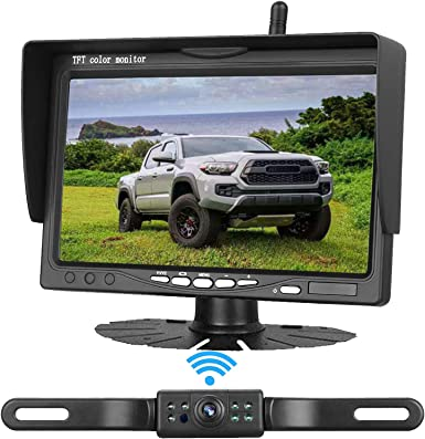Emmako Wireless Backup Camera 7 inch Monitor HD Color System For Cars SUVs Pickups Trucks Campers Bus Minivans IP68 Waterproof Night Vision Rear Front View Guide Lines On Off