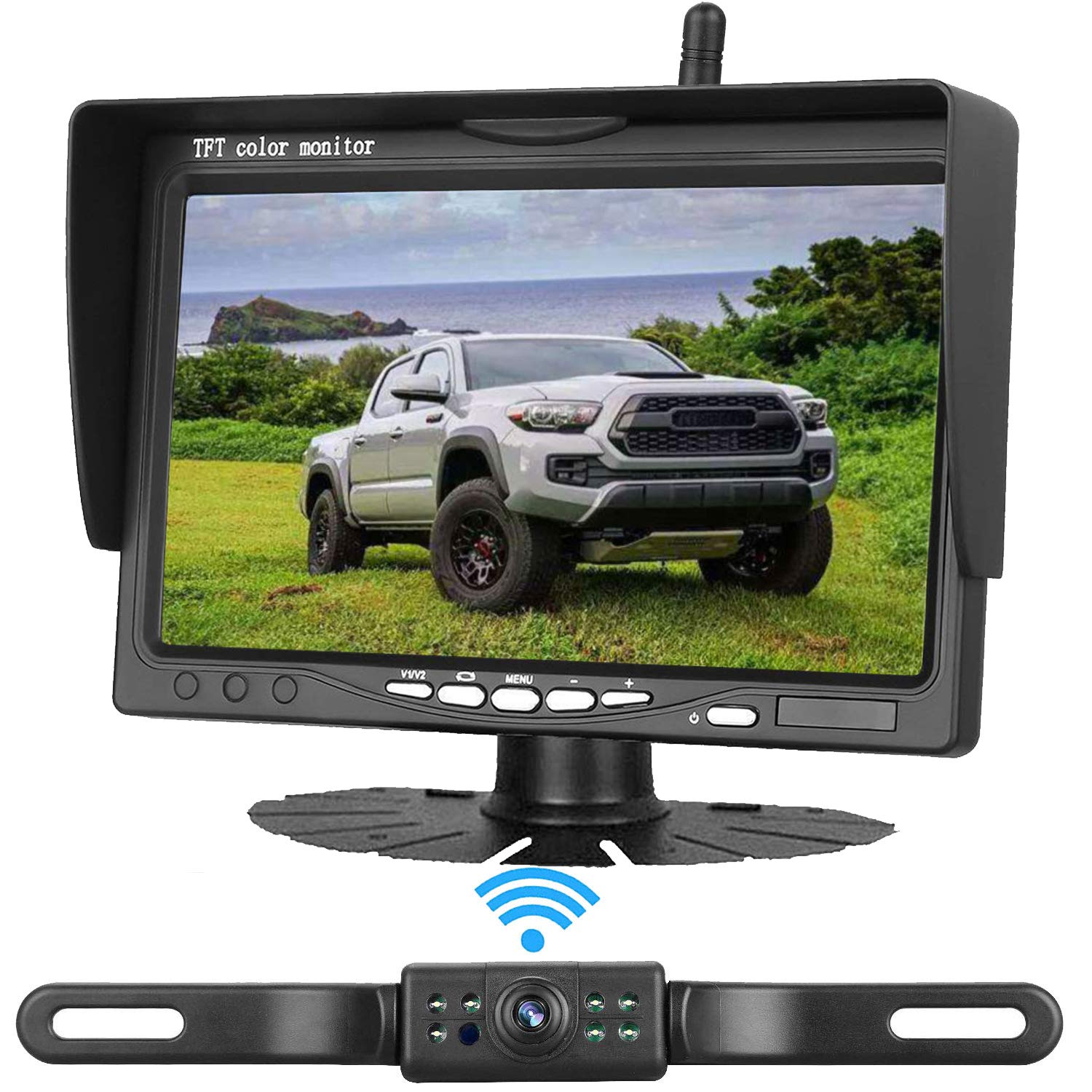 Emmako Wireless Backup Camera 7 inch Monitor HD Color System For Cars/SUVs/Pickups/Trucks/Campers/Bus/Minivans IP68 Waterproof Night Vision Rear/Front View Guide Lines On/Off by Emmako
