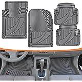FlexTough Advanced Performance Mats - 4pc HD Rubber Floor Mats for Car SUV Auto All Weather Plus (Gray)