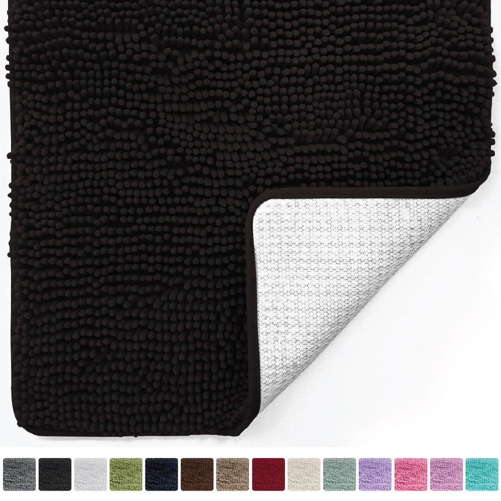 Gorilla Grip Original Luxury Chenille Bathroom Rug Mat (44 x 26), Extra Soft Absorbent Large Shaggy Rugs, Machine Wash/Dry, Perfect Plush Carpet Mats Tub, Shower Bath Room (Black)