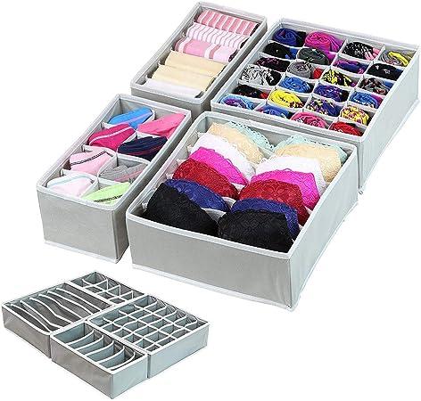 Organizador de ropa interior para sujetador, 4 unidades, plegable, caja de almacenamiento para ropa, organizador de armario, gris: Amazon.es: Hogar