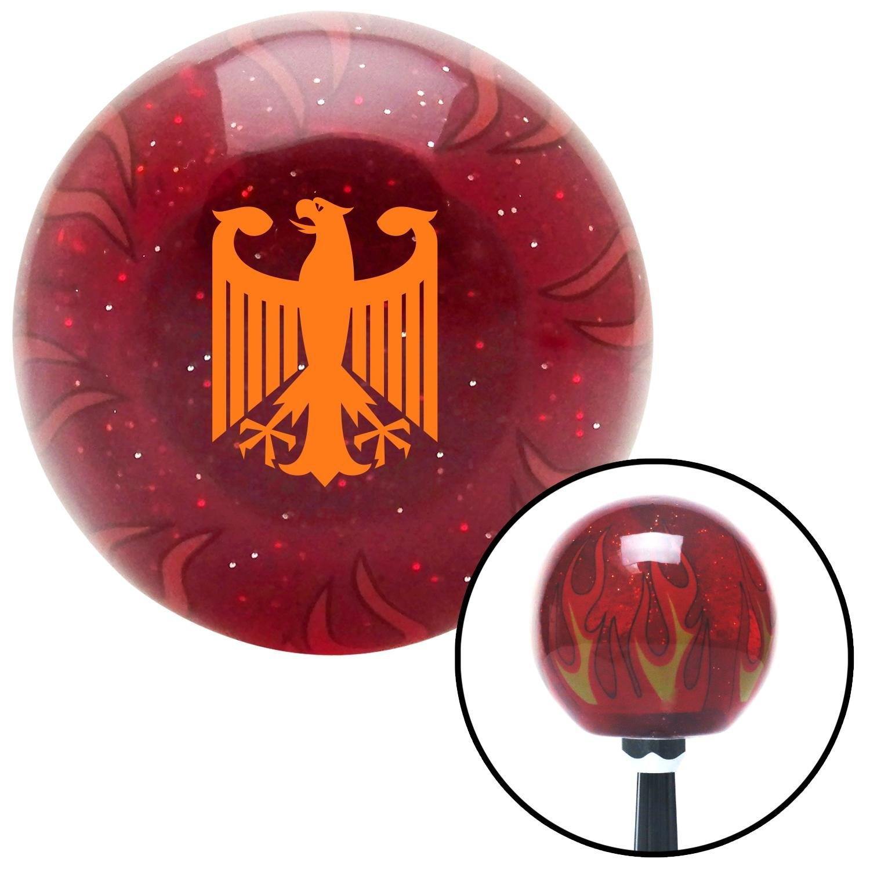 American Shifter 241792 Red Flame Metal Flake Shift Knob with M16 x 1.5 Insert Orange Heraldic Eagle
