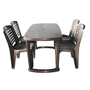 Cello Fevina Senator CLO_TAB and CH_SEN FEV MAT_I.Brown Four Seater Dining Table Set (Brown)