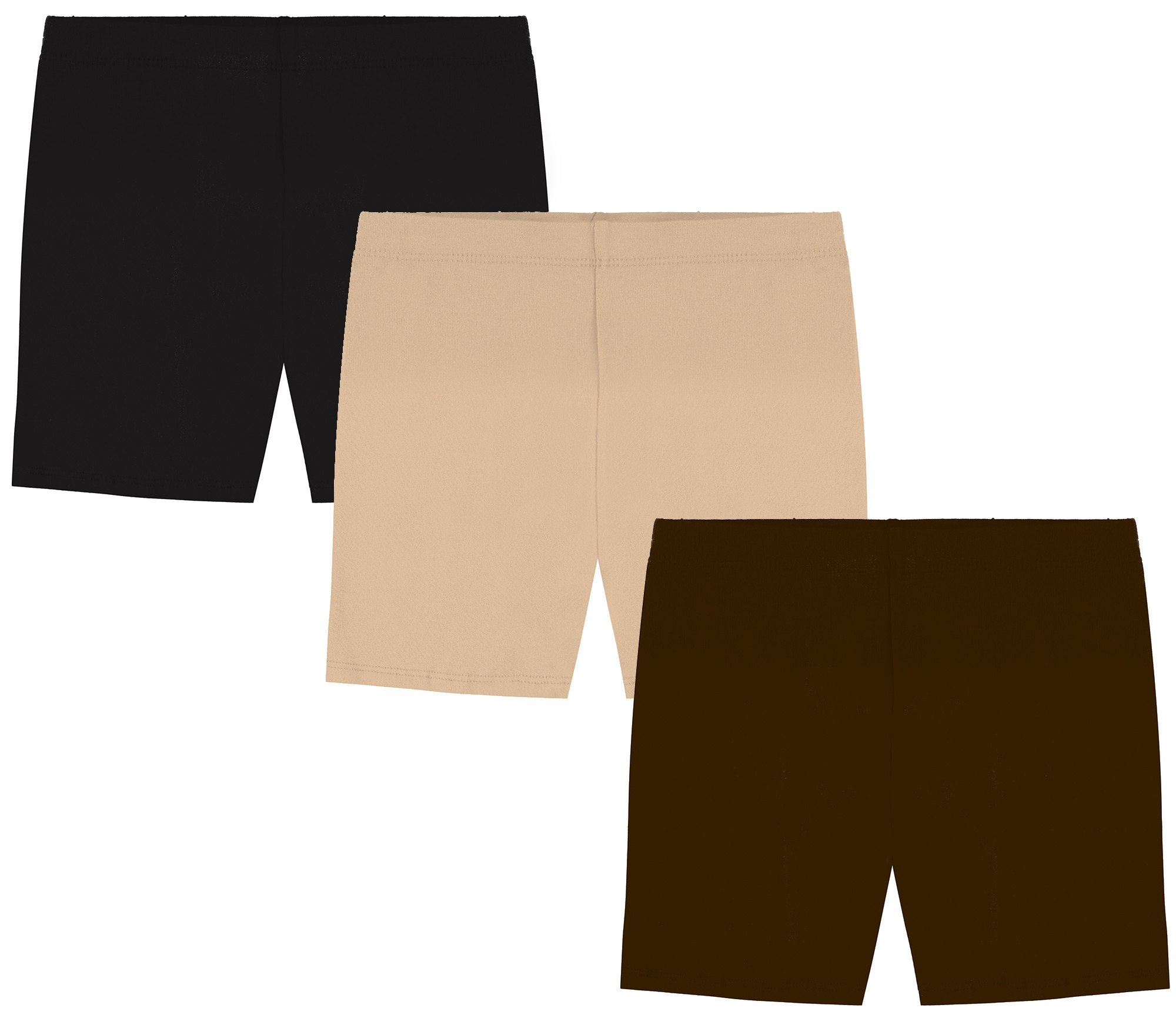 My Way Girls' Value Pack Solid Cotton Bike Shorts - Black, Brown, and Khaki - 14