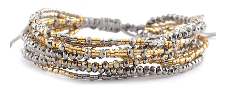 Chan Luu Collection Base Metal Grey Mix Multi Strand Beaded Pull Cord Bracelet bgz-4085
