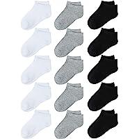 4e23070f8 Coobey 15 Pack Kids' Half Cushion Low Cut Athletic Ankle Socks Boys Girls  Ankle Socks