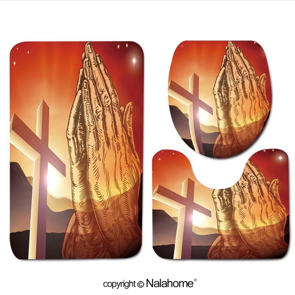 3 Piece Bath Rug Set Nalahome design-323839223 Christian cross and praying hands Bathroom Rug(19.29''x31.1'')/large Contour Mat(15.35''x19.29'')/Lid Cover(13.58''x17.51'') For Bathroom(brown) by Nalahome