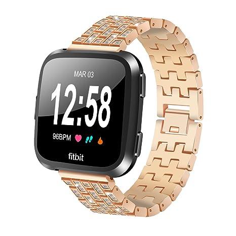 Aresh Fitbit Versa Correas Bandas, Fitbit Versa Metal sólido Acero Inoxidable Watch Band con Kit de extracción de eslabones Correa de pulsera para ...
