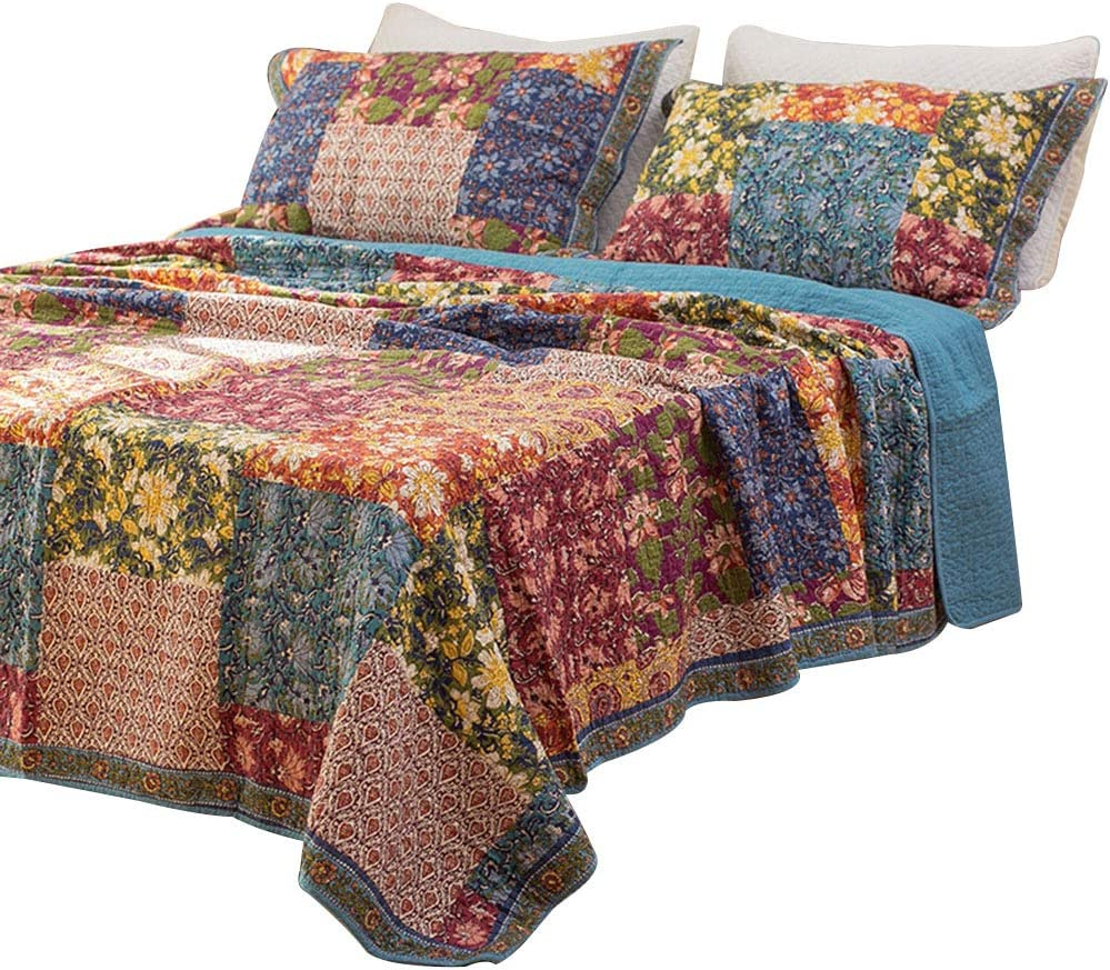 Amazon.com: Luckey1 Quilt Cover Sets Queen Size, Cotton Quilted