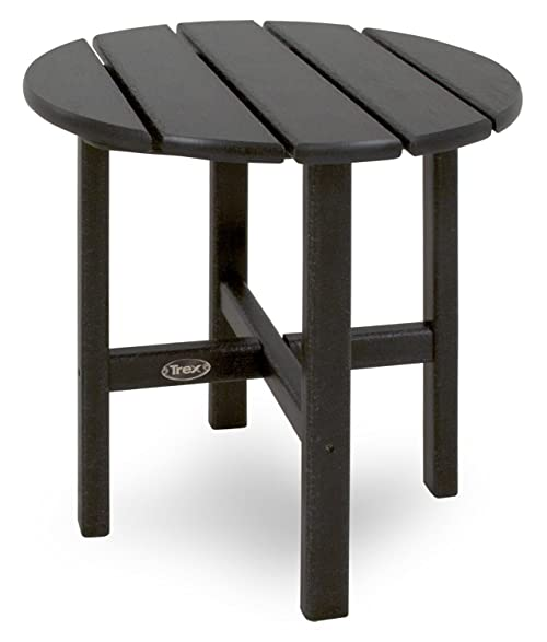 Trex Outdoor Furniture Cape Cod Round 18 Inch Side Table, Charcoal Black
