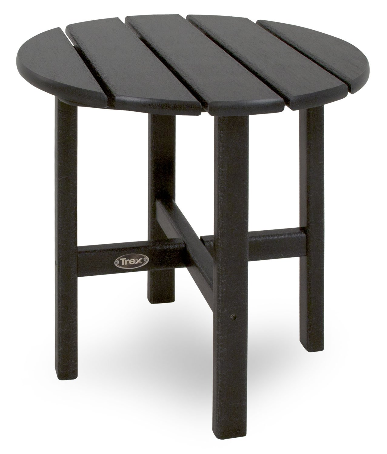 Trex Outdoor Furniture Cape Cod Round 18-Inch Side Table, Charcoal Black