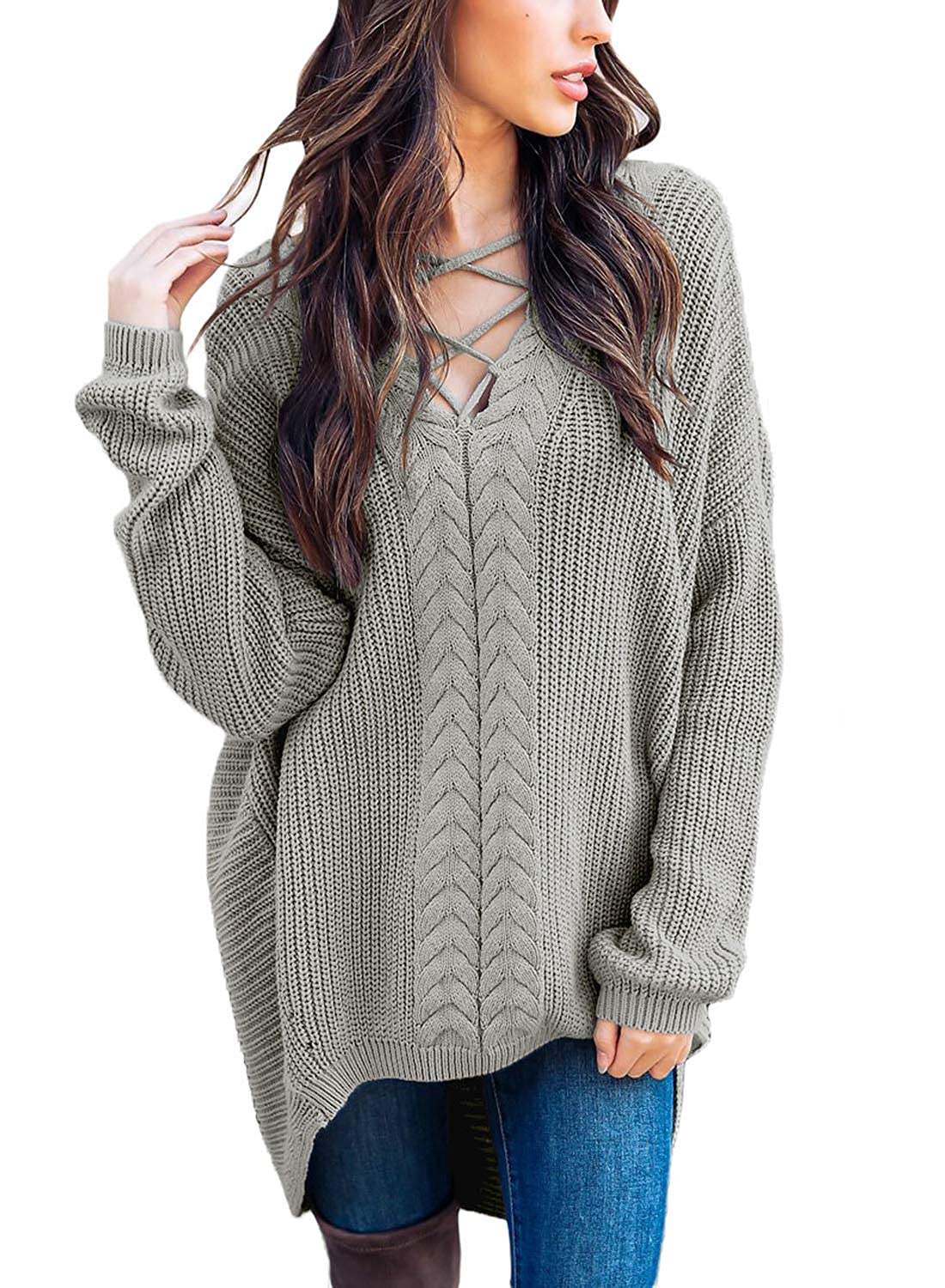 fc7fef5784 AlvaQ Women s Crisscross High Low Pullover Sweaters Tunic Tops at ...