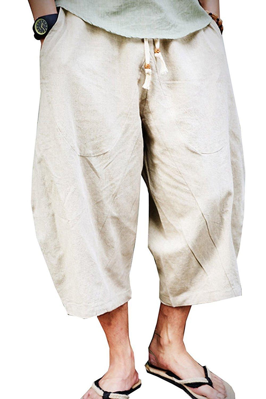Banana Bucket Men's Patchwork Shorts Loose Linen Harem Capri Pants,Beige,3XL