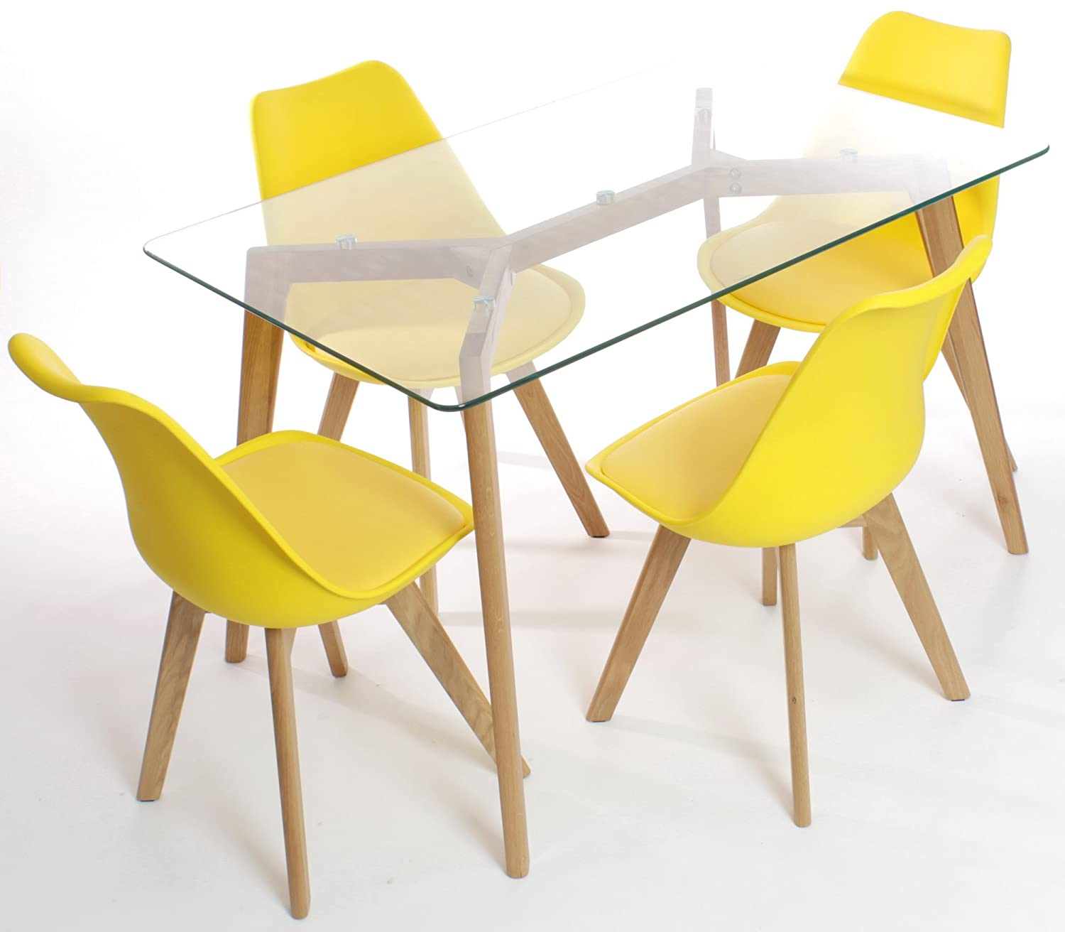 Charles Jacobs Dining Table with Four Yellow Chairs Set Solid Wood