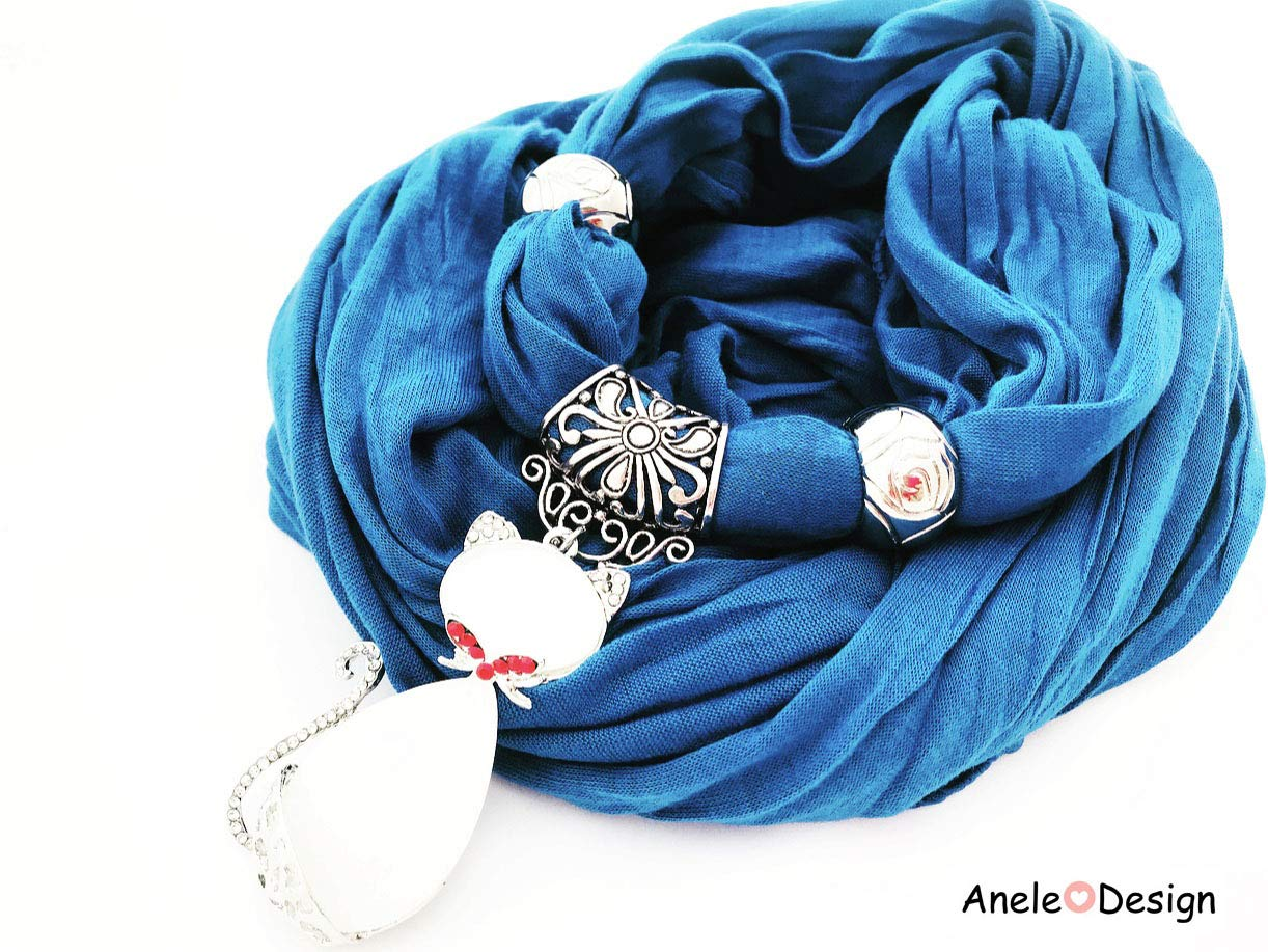 Foulard bijou bleu - chat bleu doré nez rouge cadeau femme