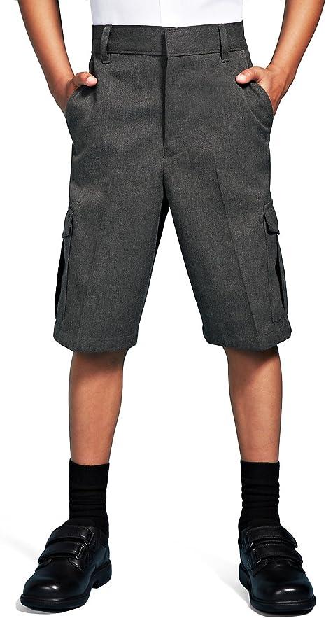EX M/&S Boys School Summer Shorts Ages 2-12 Grey Black Adjustable Waist