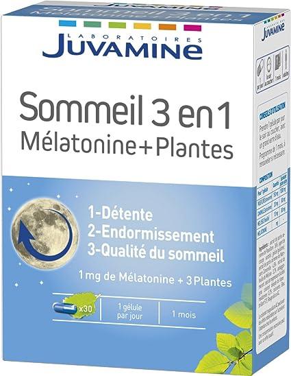 juvamine 067118 sueño Melatonina + Plantas 3 en 1 30 Cápsulas