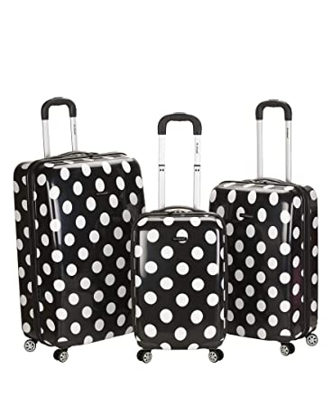 6d1e84264 Amazon.com | Rockland Luggage 3 Piece Laguna Beach Upright Luggage Set,  Black Dot, Medium | Luggage Sets