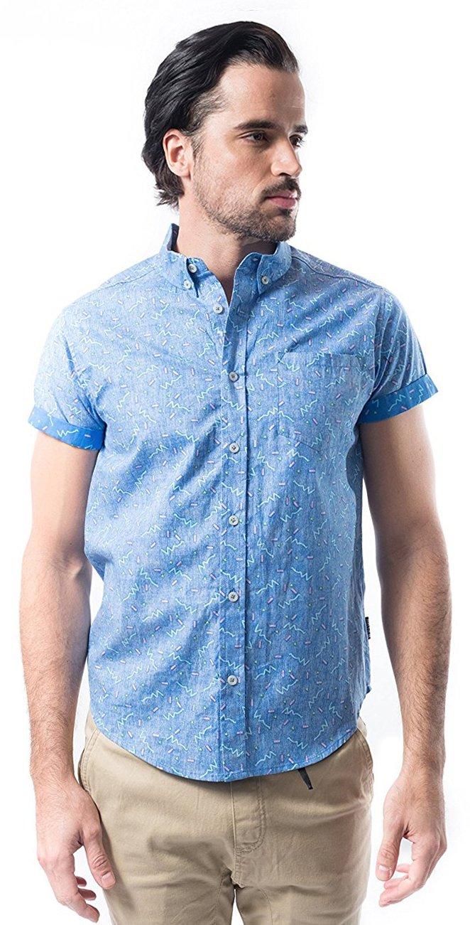 Brooklyn Athletics Men's Hawaiian Aloha Shirt Vintage Casual Button Down Tee, Blue Pattern, Medium