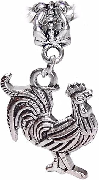 Sterling Silver 3D Rooster Chicken Bird Dangle Charm Bead For Bead Charm Bracelet