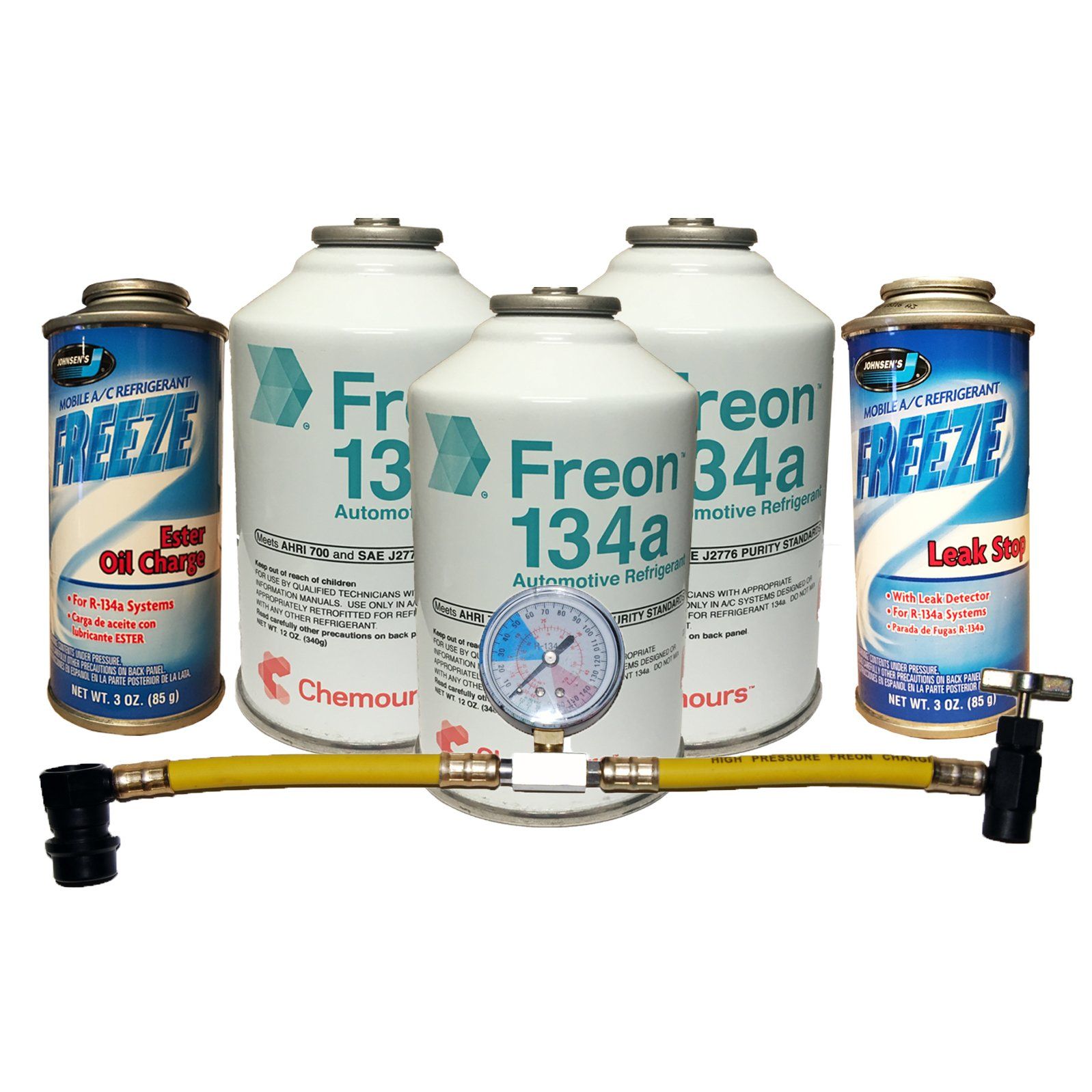 Complete AC Car Kit Refrigerant, 3 Cans DuPont Chemours R-134a, Oil Charge, Stop Leak & Can Tap with Gauge