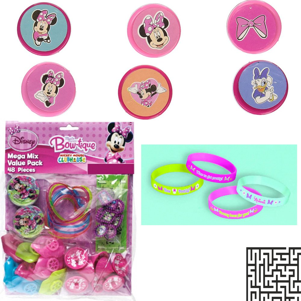 and 48 Piece Favor Pack Birthday Bundle Rubber Bracelet Includes 1 Maze Game Activity Card by ClassicVariety Amscan Minnie Mouse 6 ct Stamper Set 6 ct