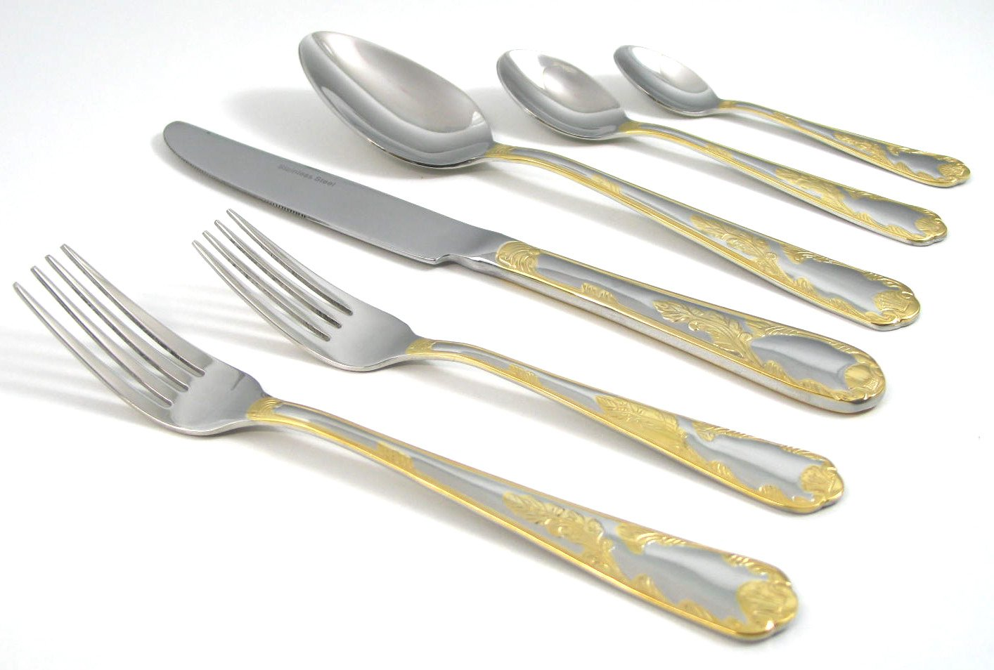 Venezia Collection 75-Piece Fine Flatware Set, Silverware Cutlery Dining Service for 12, Premium 18/10 Surgical Stainless Steel, 24K Gold-Plated (gold sets only) Hostess Serving Set (Provenza)