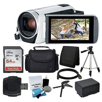 Canon VIXIA HF R800 Camcorder (White) + SanDisk 64GB Memory Card + Digital Camera/Video Case + Extra Battery BP-727 + Quality Tripod + Card Reader + ...