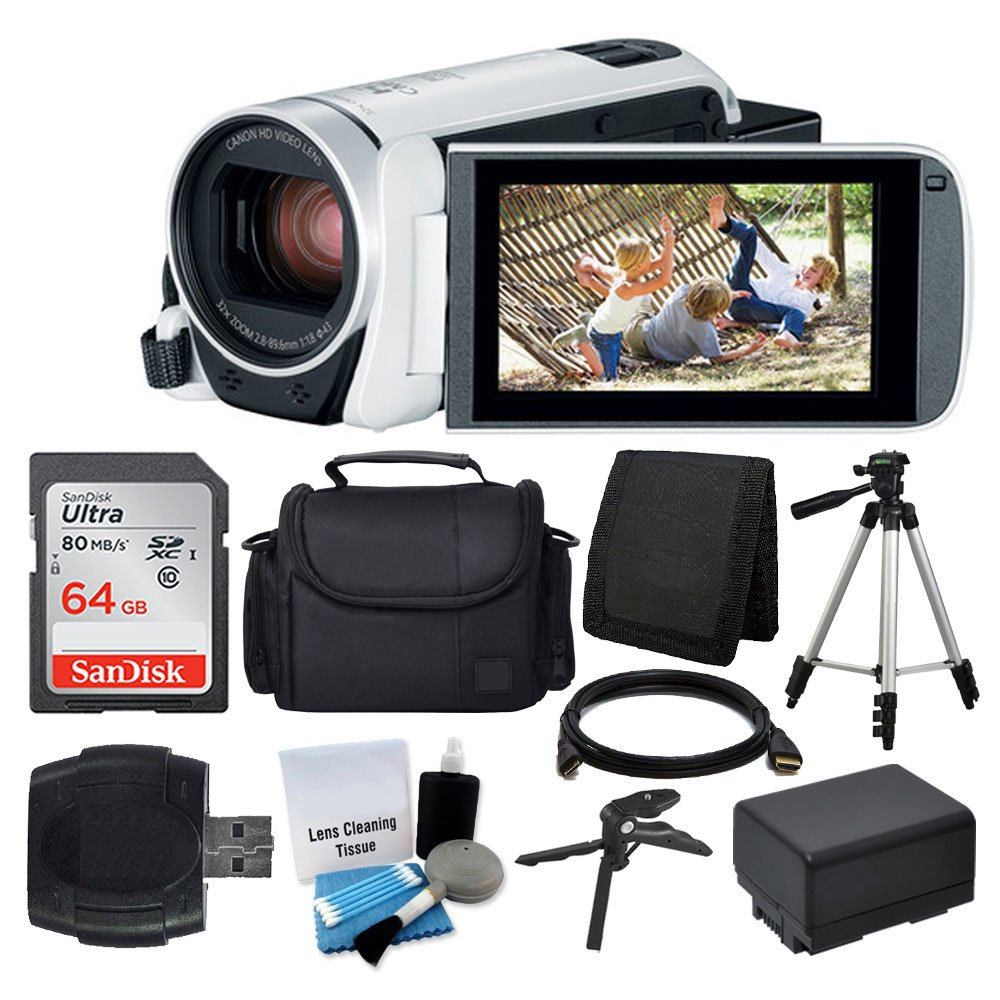 Canon VIXIA HF R800 Camcorder (White) + SanDisk 64GB Memory Card + Digital Camera/Video Case + Extra Battery BP-727 + Quality Tripod + Card Reader + Tabletop Tripod/Handgrip + Deluxe Accessory Bundle by PHOTO4LESS
