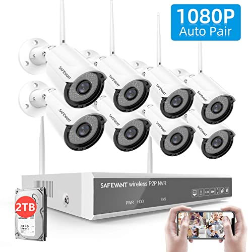 2TB Hard Drive Pre-Install 1080P Full HD Security Camera System Wireless,SAFEVANT 8 Channel Home NVR Systems 8pcs 2MP Outdoor Indoor Surveillance Cameras with Night Vision Motion Detection