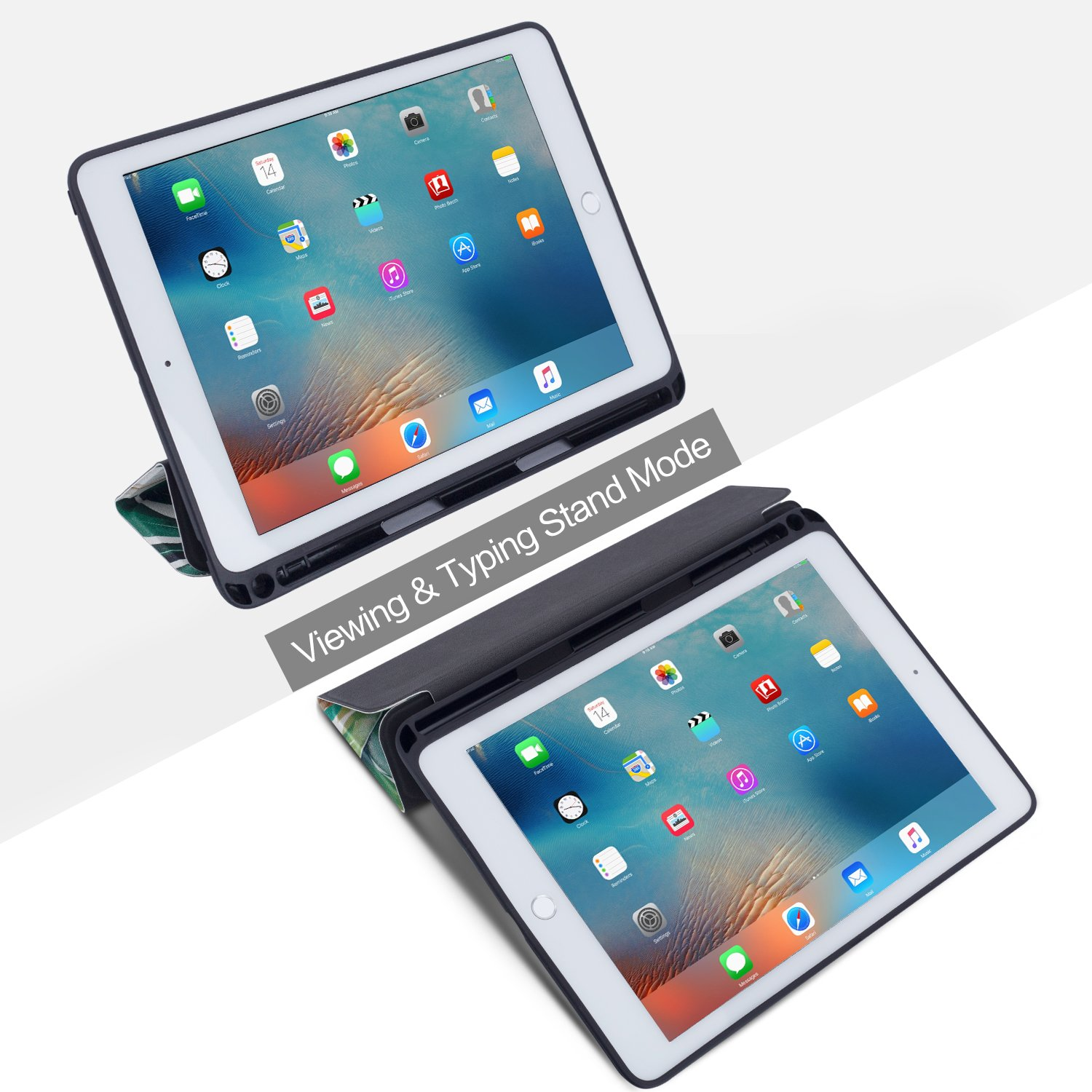 New iPad 9.7 inch 2018/2017 Case, Vimorco Premium Leather Case, Multiple Viewing Angles Stand, Tri-Fold Folio Cover for Apple ipad 9.7 2018/2017 with Auto Wake/Sleep, Pencil Holder, (White Flower)