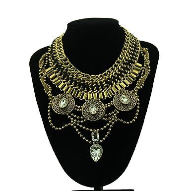 Punk Alloy Wide Bib Alte Münze Luxus Kristall übertriebene Halskette
