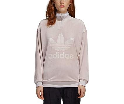 2817354923 adidas Originals Women's Loose Boyfriend Fit Velvet Zip Sweatshirt ...