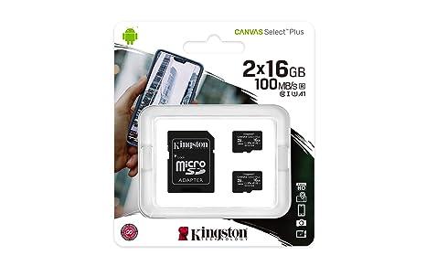 Kingston Canvas Select Plus Tarjeta microSD, SDCS2/16GB-2P1A Class 10 (2X Tarjetas,SD con Adaptador SD)