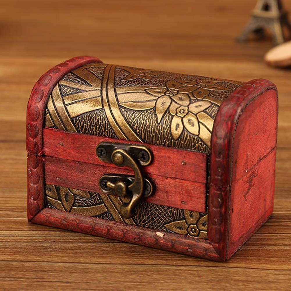 Kleine Schatztruhe aus Holz 3er Set Mini-Schatztruhe Holztruhe Schatzkiste Vintage Look Antikes Design Piraten Schatzsuche Holz Rot Braun Spardose Schmuck-Schatulle Bauernkasse Holz Sparkasse Truhe
