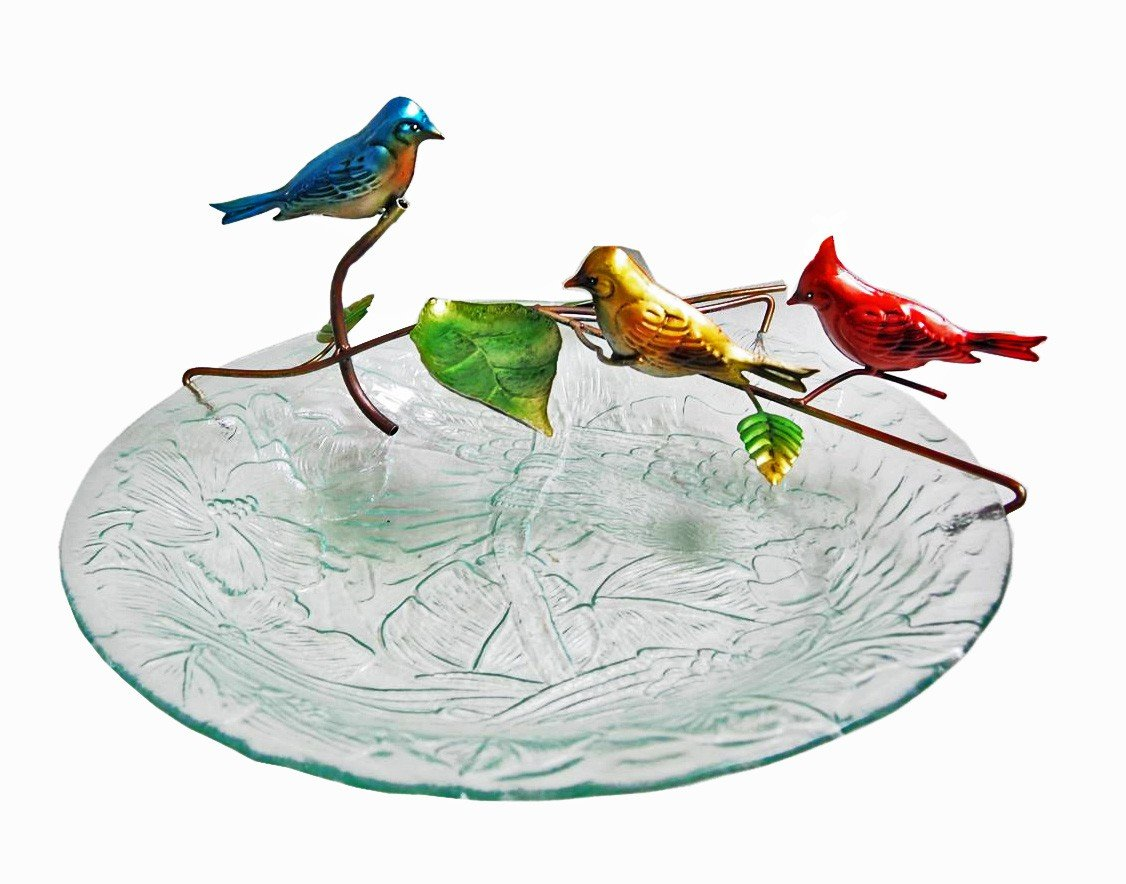 18'' Red Bird Bath Fountain and Stand Combo