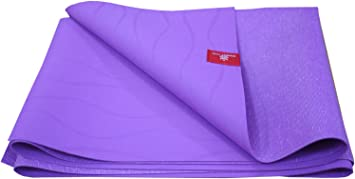 Honest Yogi Travel Yoga Mat, Thin, Light & Foldable, Made of 100% Natural Tree Rubber, Double Sided Non-Slip Surface, Available in Purple & Gray