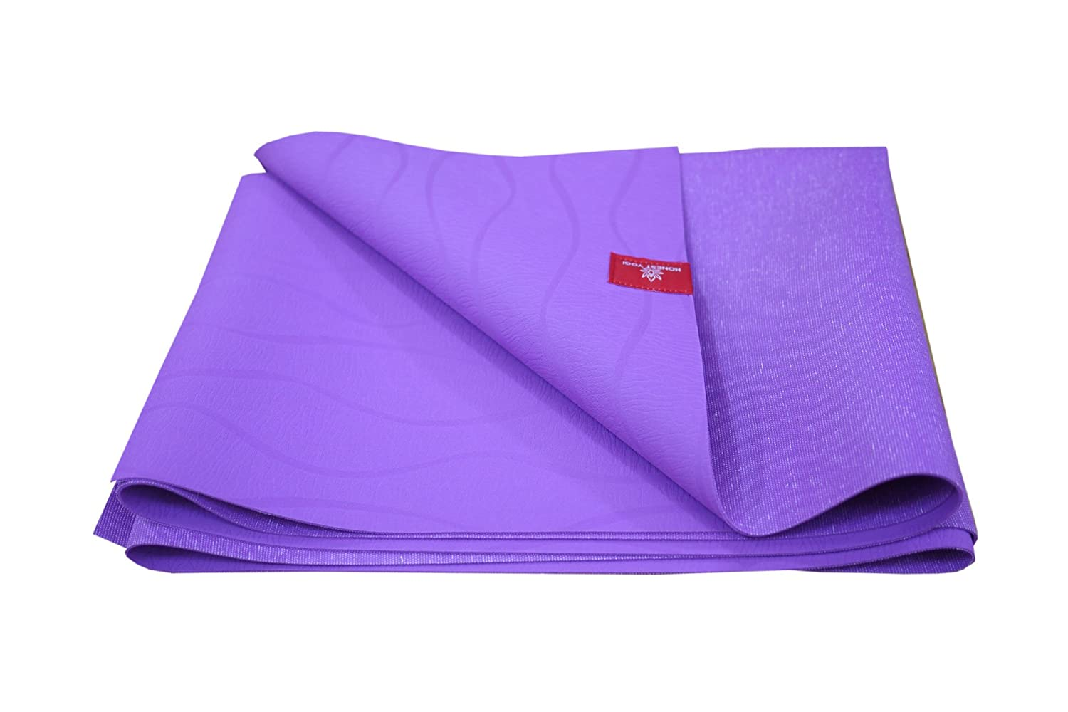 Honest Yogi Travel Yoga Mat, Thin, Light Foldable, Made of 100 Natural Tree Rubber, Double Sided Non-Slip Surface, Available in Purple Gray