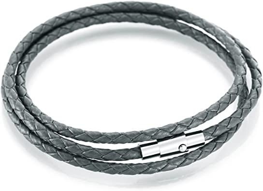 Women Men Black Leather Wristband Stainless Steel Magnetic Clasp Bracelet new.