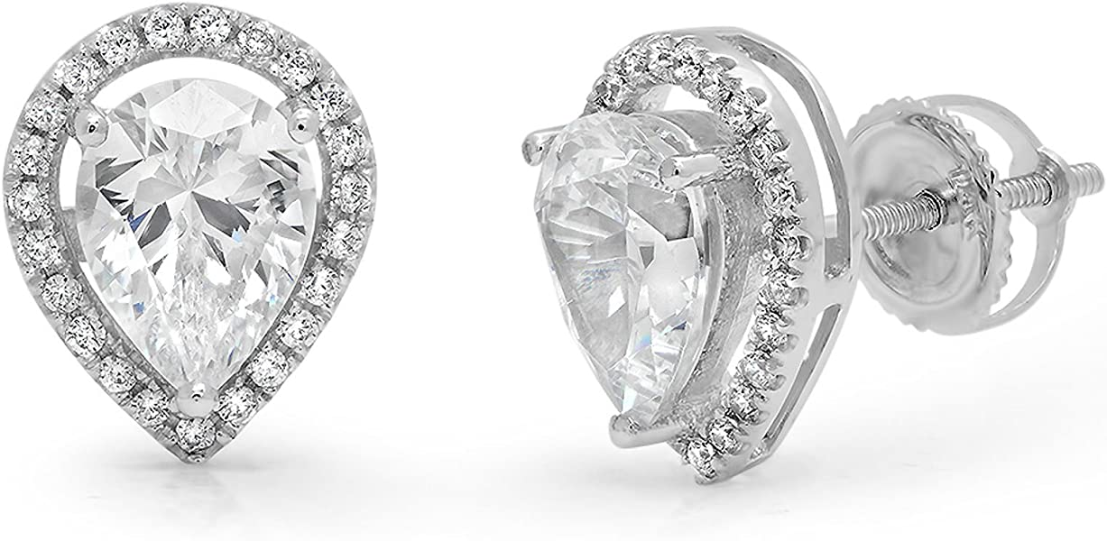 Mens Ladies 1.20 Ct Diamond 14k White Gold Over Screw Back Stud Earrings Numerous In Variety Diamond