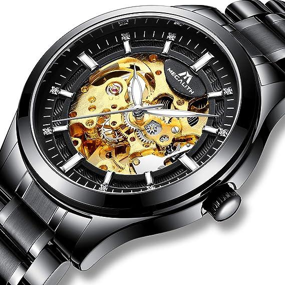 Elegante reloj esqueleto automático con pulsera de acero. Opción de colores.