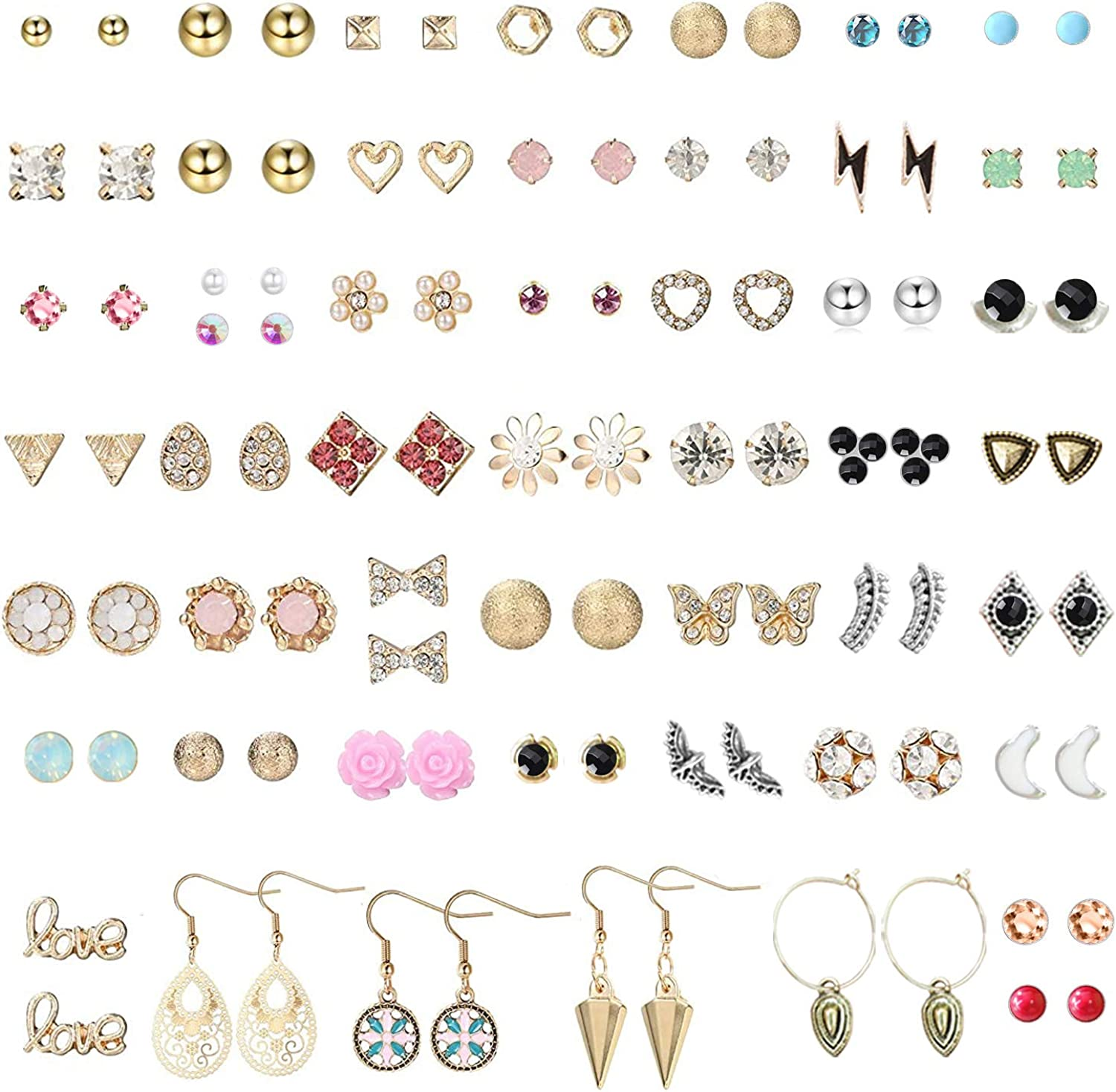 Subiceto 51 Pairs Stainless Steel Stud Earrings for Girls Assorted Cute Animal Flower Unicorn Mixed Color Earrings Pack