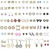Amurgo 50 Pairs Stainless Steel Stud Earrings for Teens Girls Women Cute Pearl Geometric Pattern Small Stud Earring…