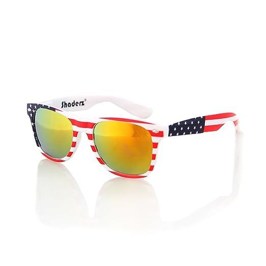 ad039fdf05f8 American USA Flag Retro 80 s Sunglasses Classic America Patriotic Classic  Sunglasses Eyewear by Shaderz Golden