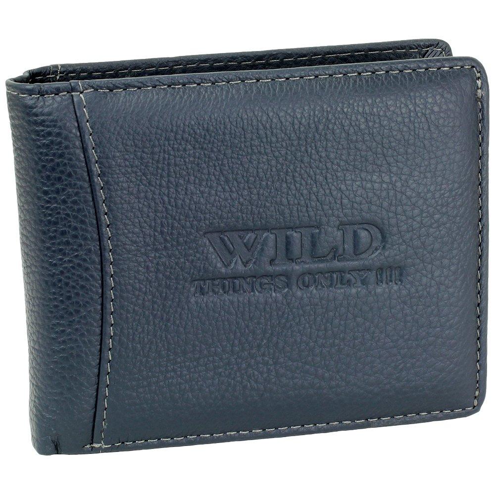 Herren Geldbörse Geldbeutel Portemonnaie Leder WILD Farbe:Dunkelblau 5353