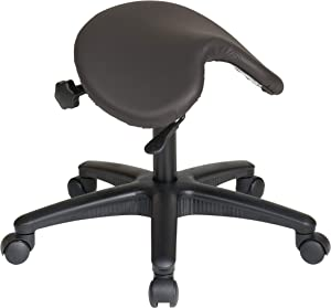 Office Star Pneumatic Drafting Chair with Saddle Seat Angle Adjustment, Dillon Graphite Fabric