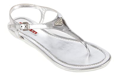 b0eec3ce9 Prada women s leather flip flops sandals silver UK size 3.5 3Y5691 3OUD  F0118