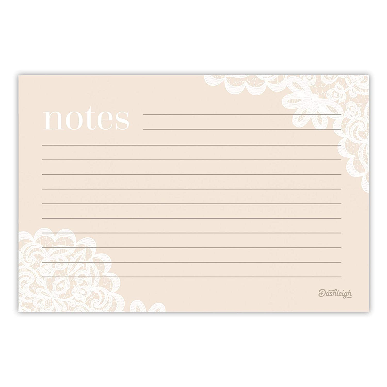 4 x 6 inches Blush Ultra Thick Double Sided Modern Lace Recipe Cards