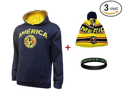 850472d83 Club America Jacket Hoodie Hood Sweater Sweatshirt Soccer Beanie and  Wristband Set 3 Amer 0010 (