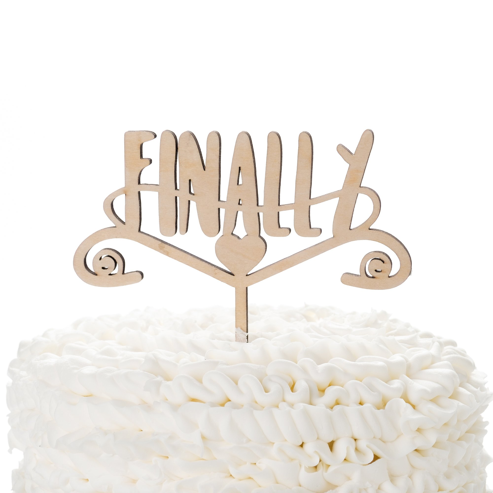 Ella Celebration Finally Wooden Wedding Cake Topper, Rustic Wood Toppers (Finally)